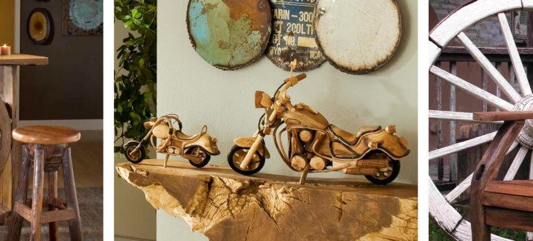 decoração com objetos em madeira